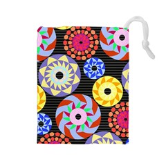 Colorful Retro Circular Pattern Drawstring Pouches (large)  by DanaeStudio