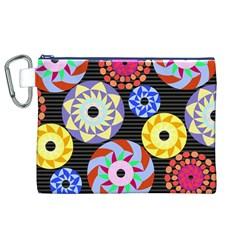 Colorful Retro Circular Pattern Canvas Cosmetic Bag (xl) by DanaeStudio