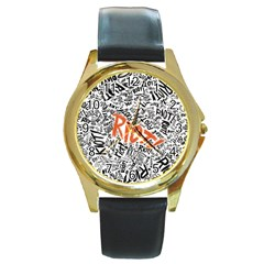 Paramore Is An American Rock Band Round Gold Metal Watch by Onesevenart