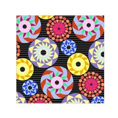 Colorful Retro Circular Pattern Small Satin Scarf (square)  by DanaeStudio