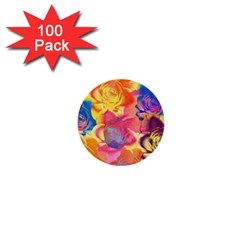 Pop Art Roses 1  Mini Buttons (100 Pack)  by DanaeStudio