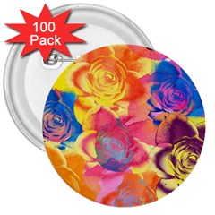 Pop Art Roses 3  Buttons (100 Pack)  by DanaeStudio