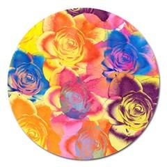 Pop Art Roses Magnet 5  (round) by DanaeStudio