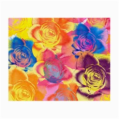 Pop Art Roses Small Glasses Cloth (2 Side) by DanaeStudio