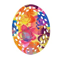 Pop Art Roses Oval Filigree Ornament (2 Side)  by DanaeStudio