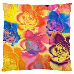 Pop Art Roses Large Cushion Case (one Side) by DanaeStudio