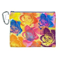 Pop Art Roses Canvas Cosmetic Bag (xxl) by DanaeStudio