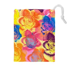 Pop Art Roses Drawstring Pouches (extra Large) by DanaeStudio