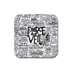 Pierce The Veil Music Band Group Fabric Art Cloth Poster Rubber Square Coaster (4 Pack)  by Onesevenart