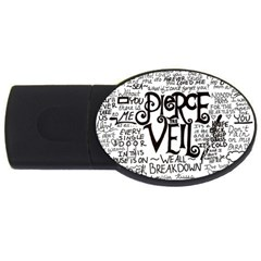 Pierce The Veil Music Band Group Fabric Art Cloth Poster Usb Flash Drive Oval (4 Gb)  by Onesevenart