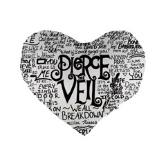 Pierce The Veil Music Band Group Fabric Art Cloth Poster Standard 16  Premium Flano Heart Shape Cushions by Onesevenart