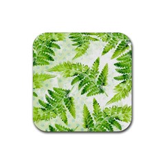 Fern Leaves Rubber Square Coaster (4 Pack)  by DanaeStudio