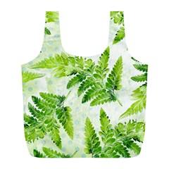 Fern Leaves Full Print Recycle Bags (l)  by DanaeStudio
