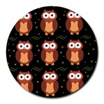 Halloween brown owls  Round Mousepads