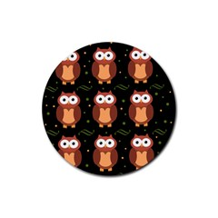 Halloween Brown Owls  Rubber Round Coaster (4 Pack)  by Valentinaart