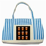 Halloween brown owls  Striped Blue Tote Bag