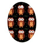 Halloween brown owls  Oval Ornament (Two Sides)