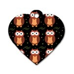 Halloween brown owls  Dog Tag Heart (One Side)