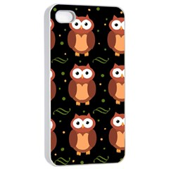 Halloween Brown Owls  Apple Iphone 4/4s Seamless Case (white) by Valentinaart