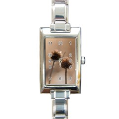 Withered Globe Thistle In Autumn Macro Rectangle Italian Charm Watch by wsfcow