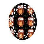Halloween brown owls  Oval Filigree Ornament (2-Side)