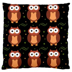 Halloween Brown Owls  Large Cushion Case (one Side) by Valentinaart