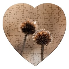 Withered Globe Thistle In Autumn Macro Jigsaw Puzzle (heart) by wsfcow