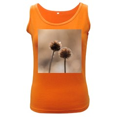 Withered Globe Thistle In Autumn Macro Women s Dark Tank Top by wsfcow