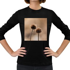 Withered Globe Thistle In Autumn Macro Women s Long Sleeve Dark T Shirts by wsfcow