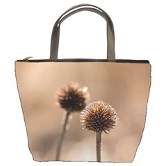 Withered Globe Thistle In Autumn Macro Bucket Bags by wsfcow
