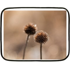 Withered Globe Thistle In Autumn Macro Double Sided Fleece Blanket (mini)  by wsfcow