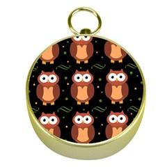 Halloween Brown Owls  Gold Compasses by Valentinaart