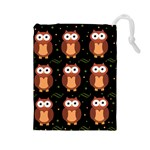 Halloween brown owls  Drawstring Pouches (Large)