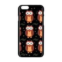 Halloween Brown Owls  Apple Iphone 6/6s Black Enamel Case by Valentinaart
