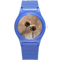 Withered Globe Thistle In Autumn Macro Round Plastic Sport Watch (s) by wsfcow