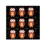Halloween brown owls  Small Satin Scarf (Square)