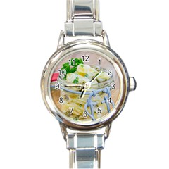 Potato Salad In A Jar On Wooden Round Italian Charm Watch by wsfcow