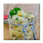 Potato salad in a jar on wooden Tile Coasters