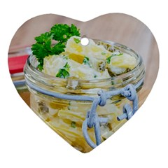 Potato Salad In A Jar On Wooden Ornament (heart)  by wsfcow