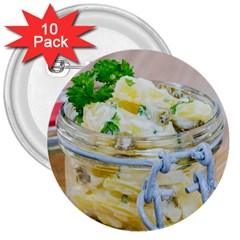 Potato Salad In A Jar On Wooden 3  Buttons (10 Pack)  by wsfcow