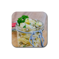 Potato Salad In A Jar On Wooden Rubber Square Coaster (4 Pack)  by wsfcow