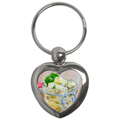 Potato Salad In A Jar On Wooden Key Chains (heart)  by wsfcow