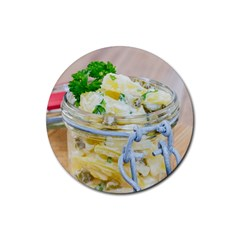 Potato Salad In A Jar On Wooden Rubber Coaster (round)  by wsfcow