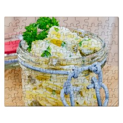 Potato Salad In A Jar On Wooden Rectangular Jigsaw Puzzl by wsfcow