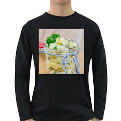 Potato Salad In A Jar On Wooden Long Sleeve Dark T Shirts by wsfcow