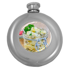 Potato Salad In A Jar On Wooden Round Hip Flask (5 Oz) by wsfcow