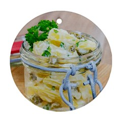 Potato Salad In A Jar On Wooden Round Ornament (two Sides)  by wsfcow