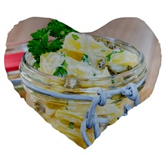 Potato Salad In A Jar On Wooden Large 19  Premium Heart Shape Cushions by wsfcow