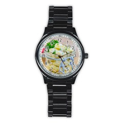 Potato Salad In A Jar On Wooden Stainless Steel Round Watch by wsfcow
