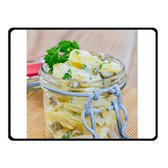 Potato Salad In A Jar On Wooden Double Sided Fleece Blanket (small)  by wsfcow